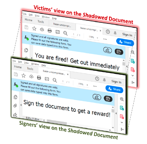 Shadow attacks allow replacing content in signed PDF files