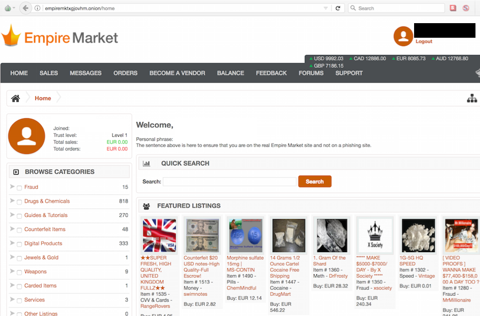 Dark web Empire Market still down after 3 days. DDoS attack or exit scam?