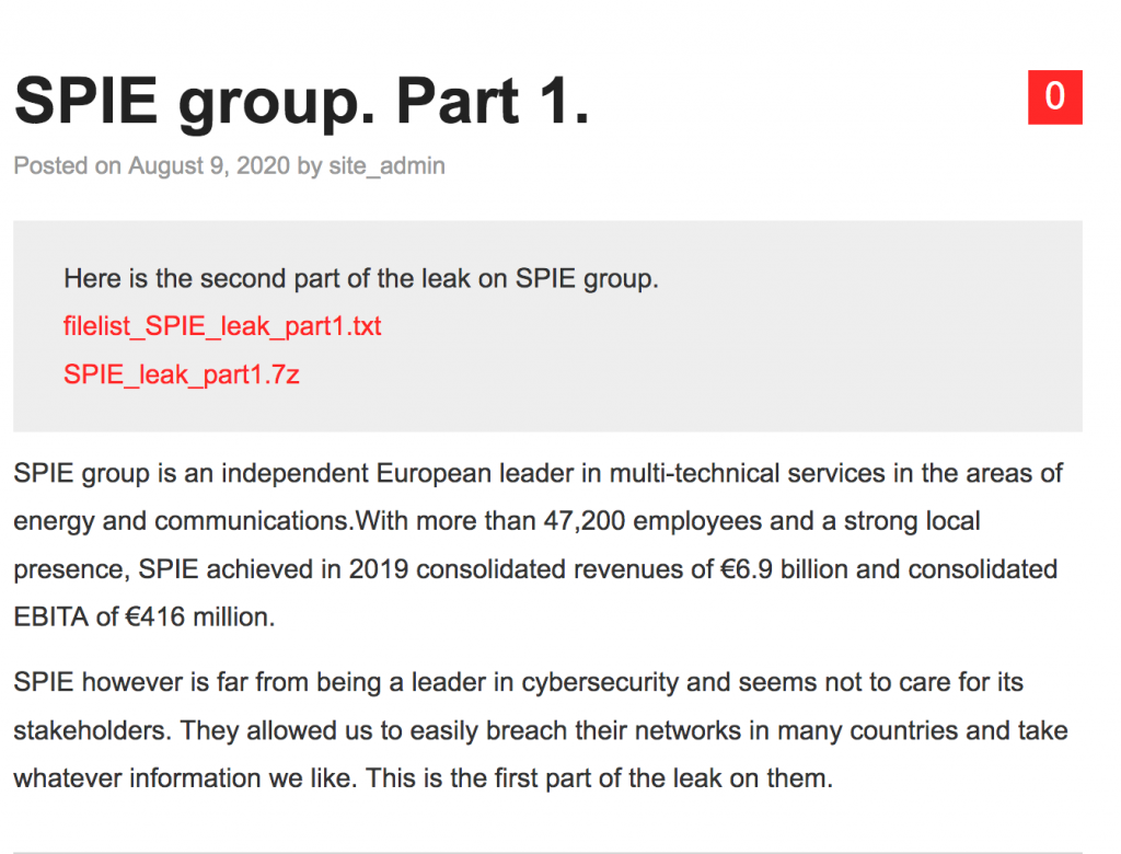 Nefilim ransomware operators claim to have hacked the SPIE group