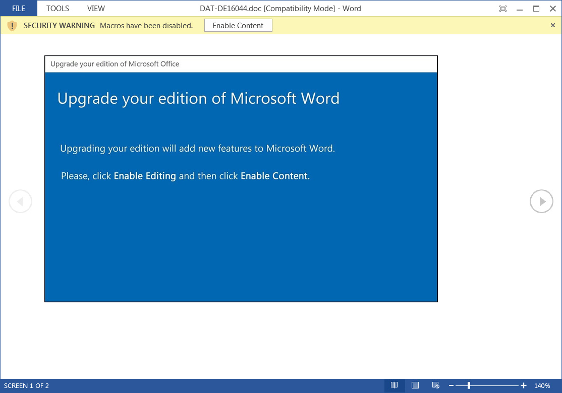 New Emotet attacks use a new template urging recipients to upgrade Microsoft Word