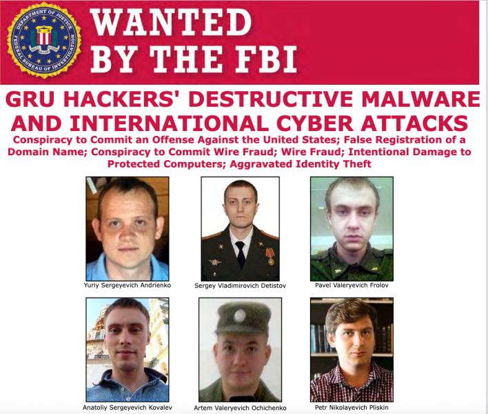 U.S. Charges Russia GRU Intelligence Officers for notorious attacks, including NotPetya