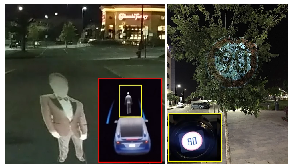 Fooling self-driving cars by displaying virtual objects