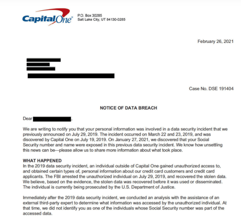 Capital One discovered more customers' SSNs exposed in 2019 hack