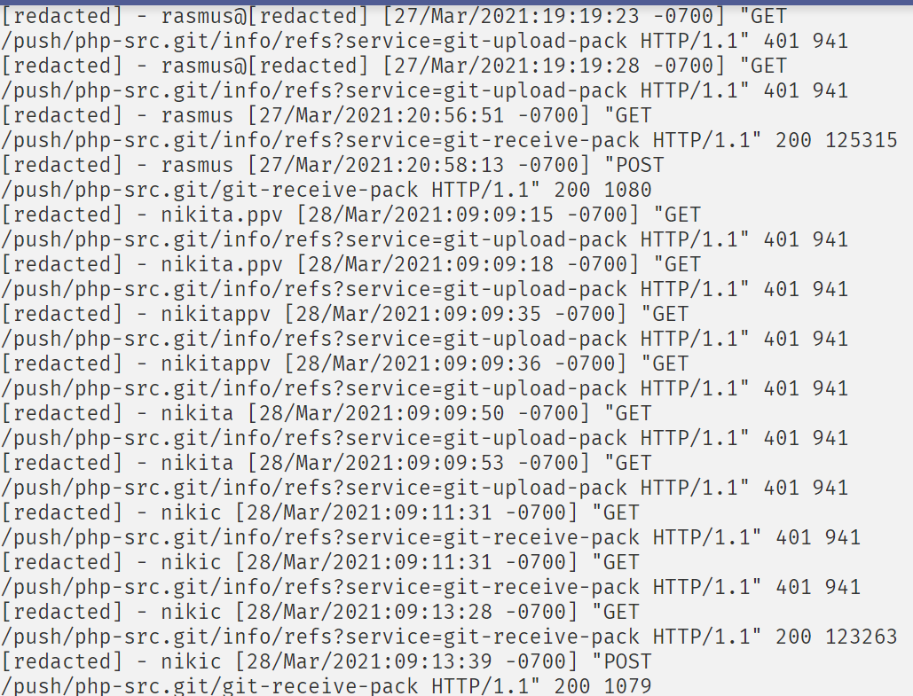 User database was also hacked in the recent hack of PHP 's Git Server