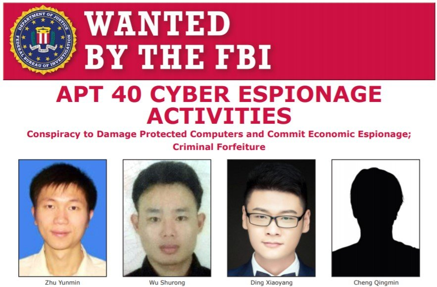 US DoJ indicts four members of China-linked APT40 cyberespionage group