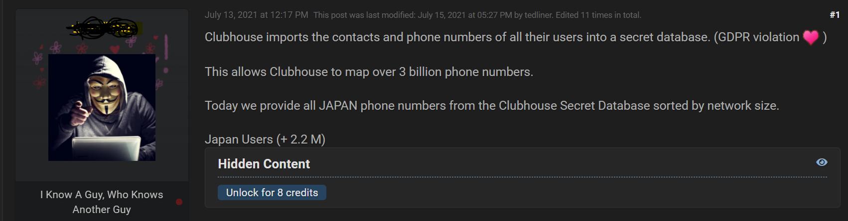 Threat actor offers Clubhouse secret database containing 3.8B phone numbers
